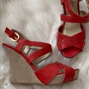 Seychelles leather red wedge